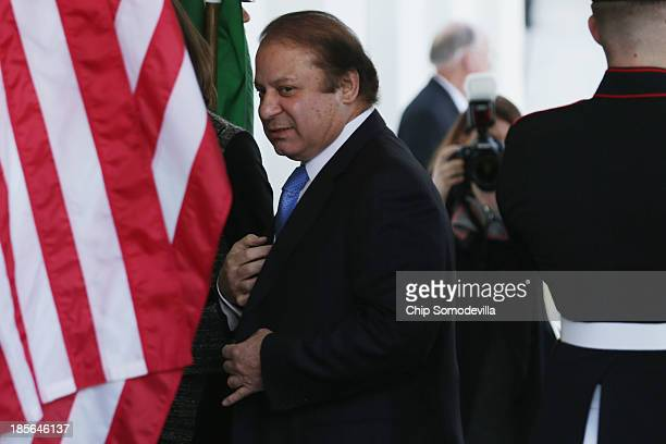 Pakistan Prime Minister Nawaz Sharif arrives at the White House October 23 2013 in Washington DC Sharif will be meeting with US President Barack...