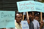Pakistan residents in Sri Lanka protest against the violence in Indiaadministered Kashmir outside the United Nations office in Colombo on July 21...