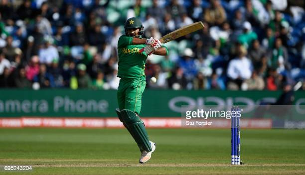 Pakistan Sarfraz Ahmed hits out during the ICC Champions League match between Sri Lanka and Pakistan at SWALEC Stadium on June 12 2017 in Cardiff...