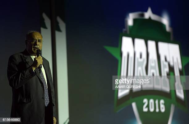 Pakistan Super League chairman Najam Sethi speaks during second edition of Pakistan Super League draft in Dubai on October 19 2016 PSL which will be...