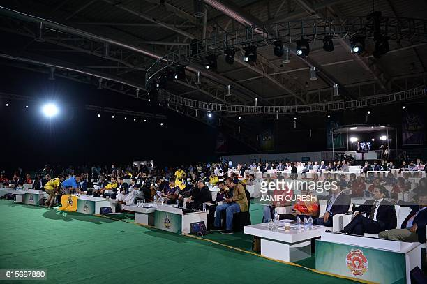 Pakistan Super League teams officials attend the second edition of PSL draft in Dubai on October 19 2016 Pakistan's Twenty20 league boss Najam Sethi...