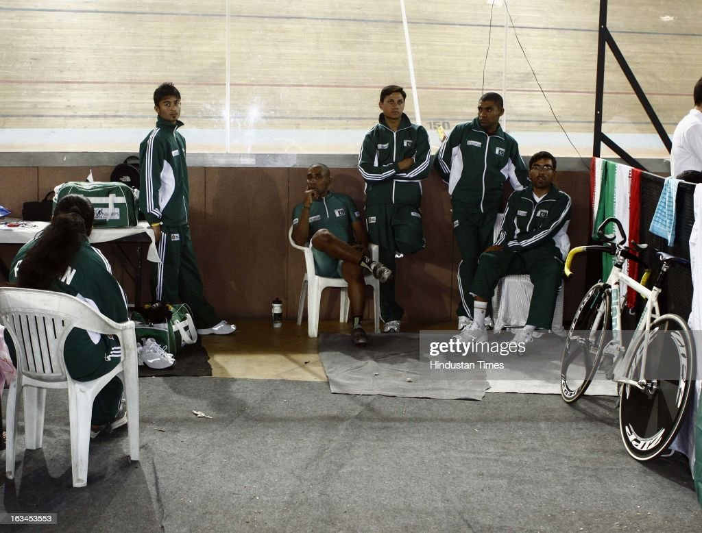 Pakistan Team squad during the Asian Cyclist Championship at IG Cycling Velodrome on March 10, 2013 in New Delhi, India. The Pakistani contingent is finally here for the Asian Cycling Championships after getting their visas at the 11th hour.