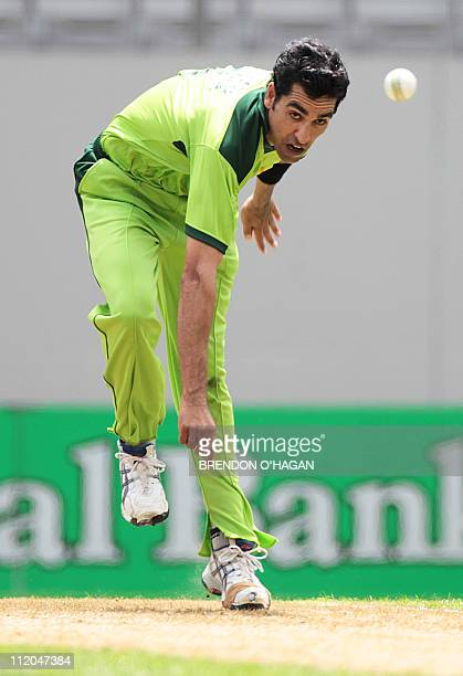 Pakistan Umar Gul bowls against New Zealand during the sixth oneday international cricket match at Eden Park in Auckland on February 5 2011 AFP PHOTO...