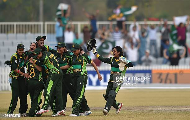 Pakistan women cricket team celebrate their victory during the women's cricket final against Bangladesh at the Yeonhui Cricket Ground during the 17th...