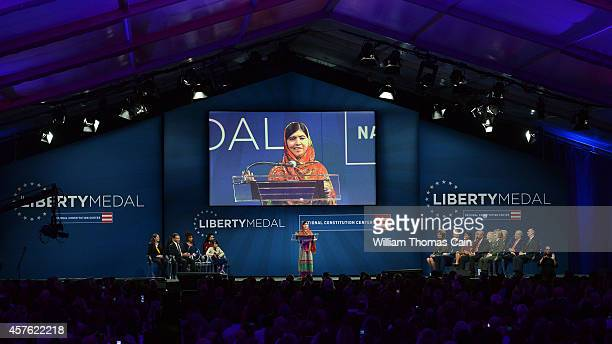 Pakistani activist Malala Yousafzai 17yearsold speaks after accepting the 2014 Liberty Medal October 21 2014 at the National Constitution Center in...