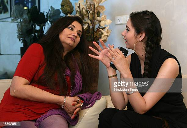 Pakistani actor Sasheh Agha doing interview of her mother singeractor Salma Agha on May 15 2013 in Mumbai India Sasheh Agha is making her debut with...
