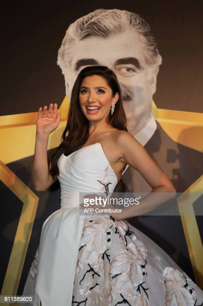 Pakistani actress Mahira Khan poses for a picture during the 8th edition of the Beirut International Awards Festivals in the Lebanese capital Beirut...