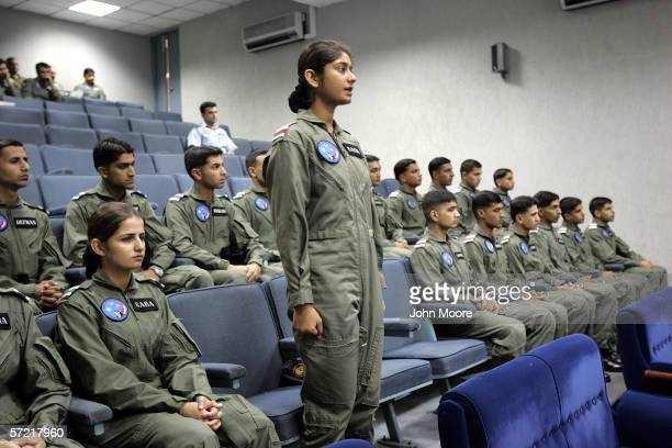Pakistani Air Force cadet Nadia Gul answers a question during class at the Pakistani Air Force Academy October 6 2005 in Risalpur Pakistan Gul the...