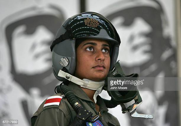 Pakistani Air Force cadet Nadia Gul stands in front of a mural at the Pakistani Air Force Academy October 6 2005 in Risalpur Pakistan Gul the top...