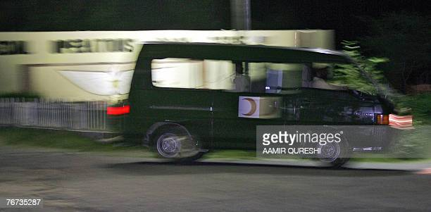 A Pakistani army ambulance leaves the headquarters of an anti AlQaeda Special Operation Task Force where a suicide bomber blew himself up killing 15...