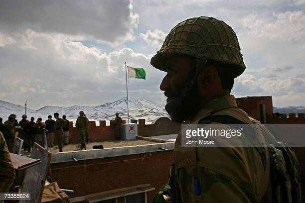 Pakistani Army soldier stands in a military outpost near the border with Afghanistan February 17 2007 in the tribal area of North Waziristan Pakistan...