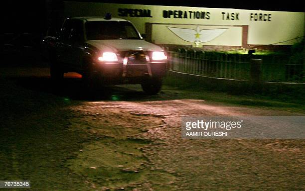 A Pakistani army vehicle leaves the headquarters of an anti AlQaeda Special Operation Task Force where a suicide bomber blew himself up killing 15...