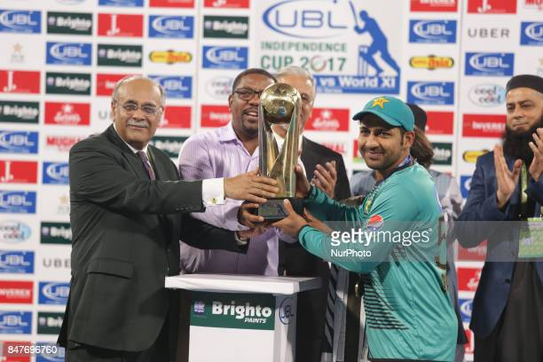 Pakistani batsman Ahmed Sehzad receives man of the match trophy from Chairman Pakistan Cricket board Najam Sethi Ahamad sehzad scores 88 during the...