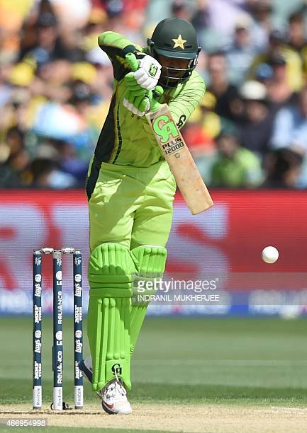 Pakistani batsman Haris Sohail plays a shot during the 2015 Cricket World Cup quarterfinal match between Australia and Pakistan in Adelaide on March...