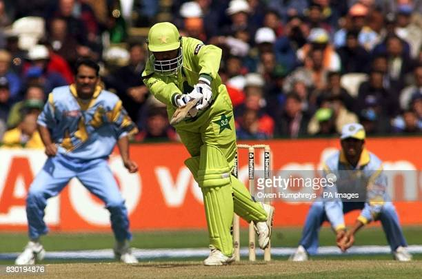 Pakistani batsman Ijaz Ahmed flicks a ball to leg during their Super Six Cricket World Cup match against India at Old Trafford Manchester