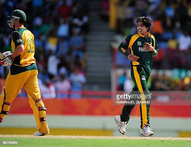 Pakistani bowler Mohammad Aamer celebrates after taking the wicket of Australian batsman Tim Paine during the ICC World Twenty20 Group A match...