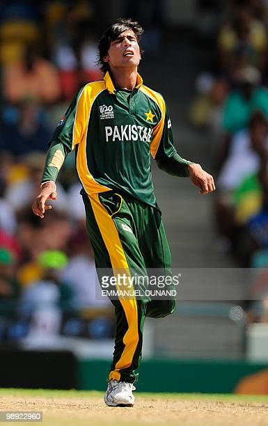 Pakistani bowler Mohammad Aamer reacts during the ICC World Twenty20 Super Eight match between New Zealand and Pakistan at the Kensington Oval on May...
