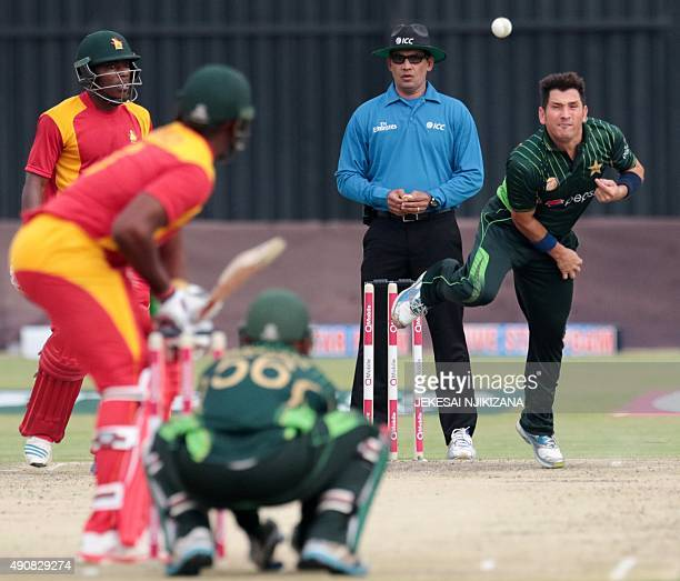 Pakistani bowler Yasir Shah delivers a ball during the first in a series of three One Day International cricket matches between Pakistan and hosts...