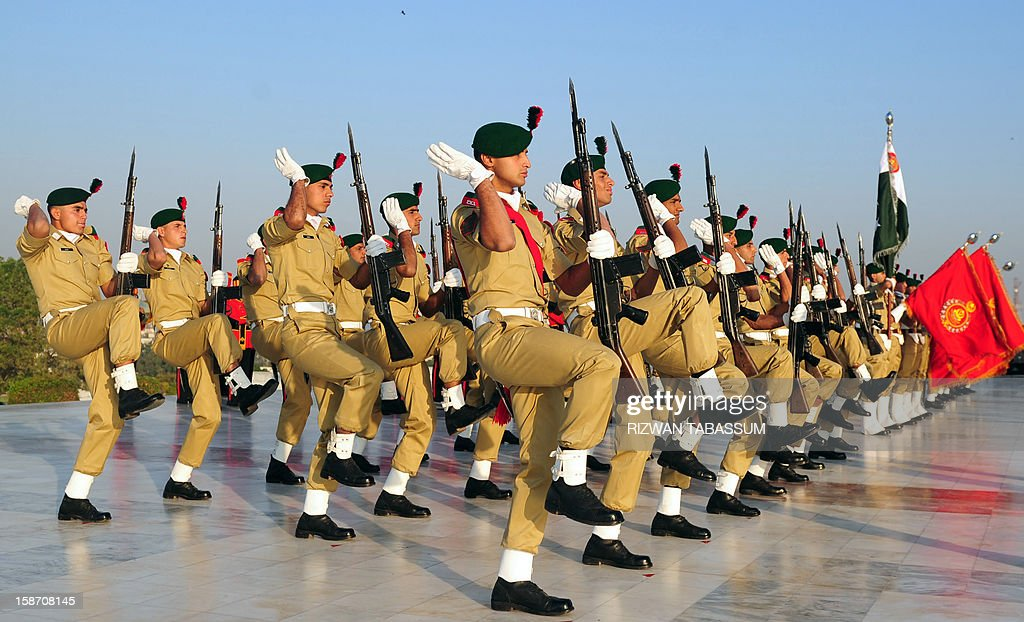 Pakistani cadets march during a ceremony on the 136th birth anniversary of Pakistan's founder Mohammad Ali Jinnah at his mausoleum in Karachi on December 25, 2012. Special ceremonies were held at the mausoleum in the port city and other parts of the country to celebrate the 136th birth anniversary of Jinnah.