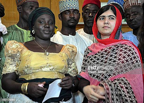 Pakistani campaigner for education right Malala Yousafzai meets with the families of the Nigerian schoolgirls abducted by Boko Haram militants in...