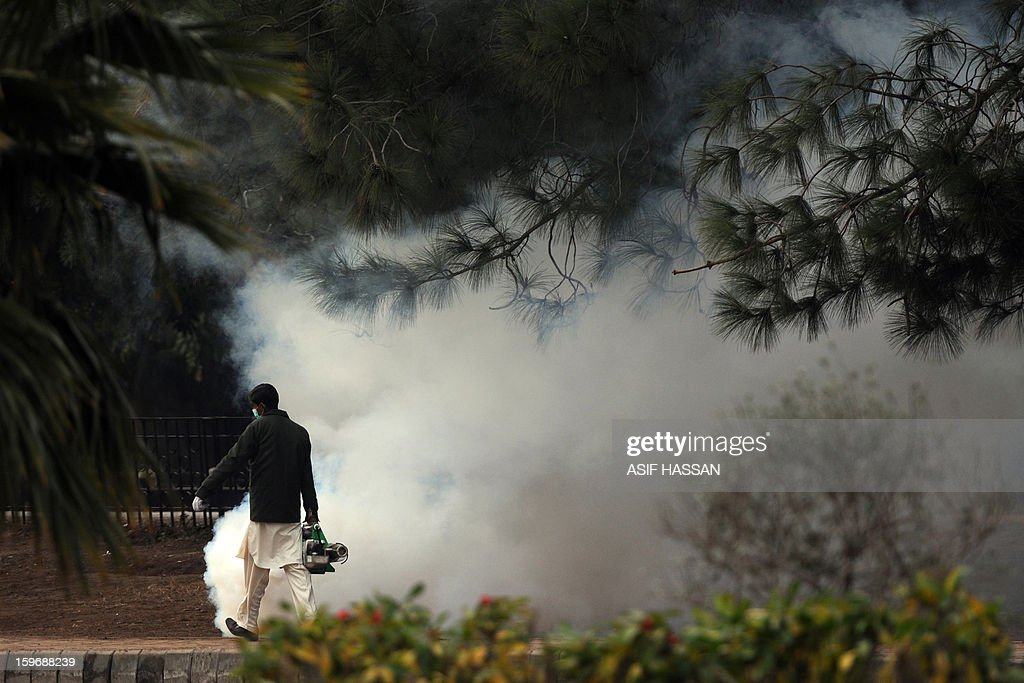 A Pakistani Capital Development Authority (CDA) worker fumigates a public area the day after a massive protest march in Islamabad on January 17, 2013. Islamabad has brokered an end to a protest challenging its rule that paves the way to historic elections, but rising violence in the weak nuclear-armed state is still a threat, analysts say. AFP PHOTO/ Asif HASSAN