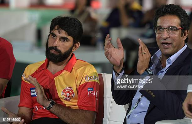 Pakistani captain MisbahulHaq of Islamabad United and Pakistani director and bowling coach of Islamabad United Wasim Akram attend the second edition...