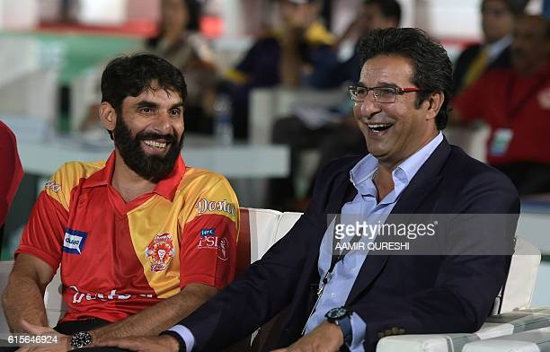 Pakistani captain MisbahulHaq of Islamabad United and Pakistani director and bowling coach of Islamabad United Wasim Akram smile as they attend the...