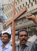 Pakistani christian protest against the killing of slain minorities minister Shahbaz Bhatti in Karachi on March 2 2011 Gunmen shot dead the Catholic...