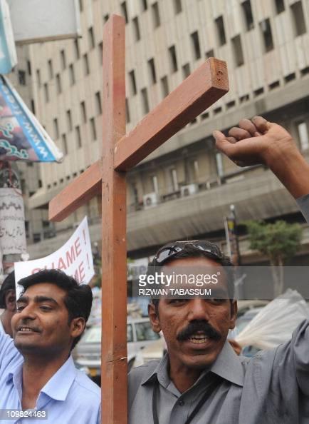 Pakistani christian protest against the killing of slain minorities minister Shahbaz Bhatti in Karachi on March 2 2011 Gunmen shot dead the Catholic...