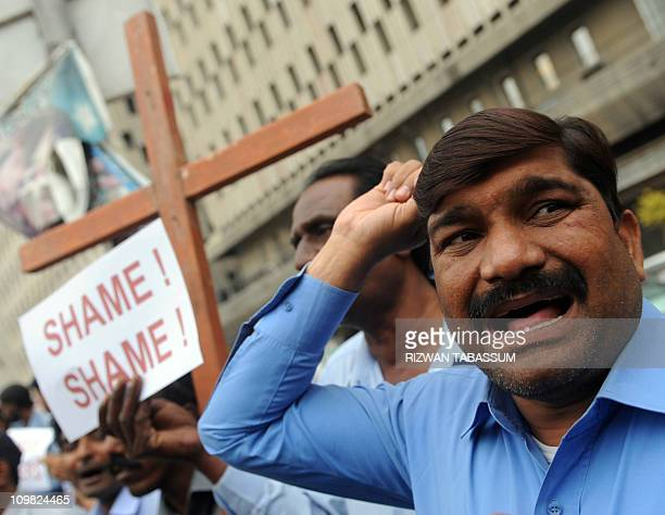 Pakistani Christian protestors demonstrate against the killing of slain minorities minister Shahbaz Bhatti in Karachi on March 2 2011 Gunmen shot...