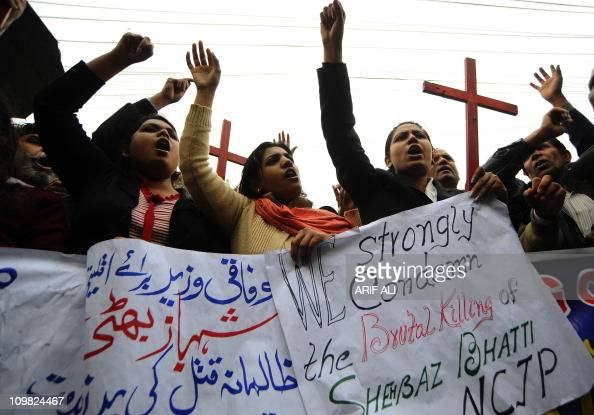 Pakistani Christian protestors demonstrate against the killing of slain minorities minister Shahbaz Bhatti in Lahore on March 2 2011 Gunmen shot dead...