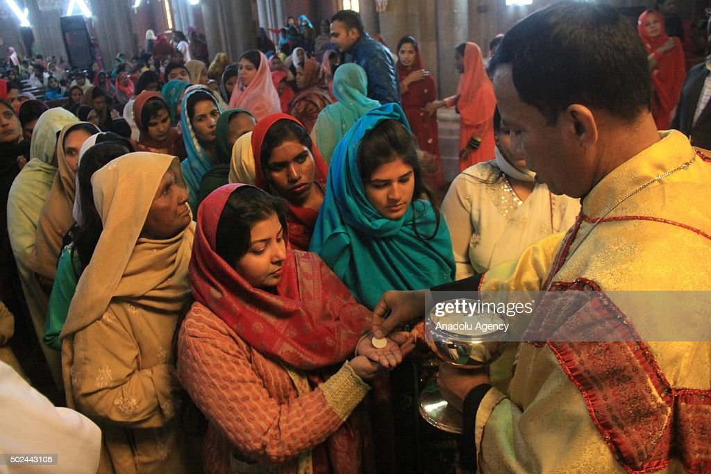 Pakistani Christians attend a Christmas mass at the Sacred Heart Cathedral in Lahore, Pakistan on December 25, 2015.