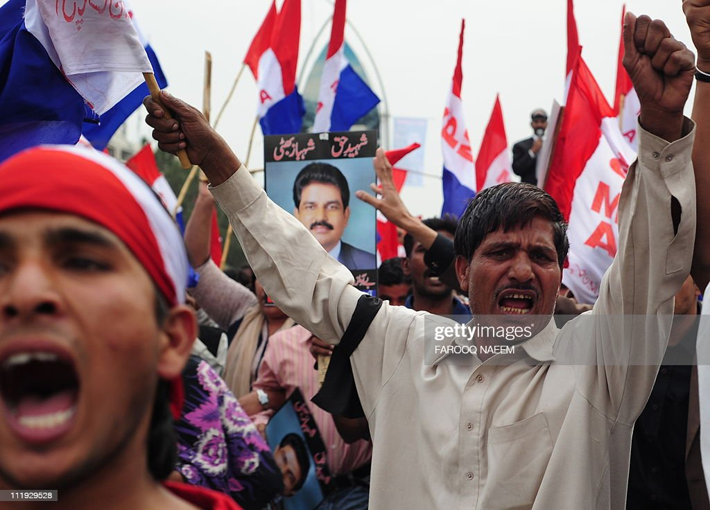 Pakistani Christians march towards parliament for special prayers in memory of slain Christian minister Shahbaz Bhatti in Islamabad on April 9 2011...