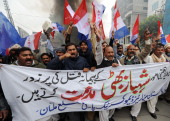 Pakistani Christians shout slogans against the killing of a Christian government minister Shahbaz Bhatti in Islamabad by gunmen during a protest in...