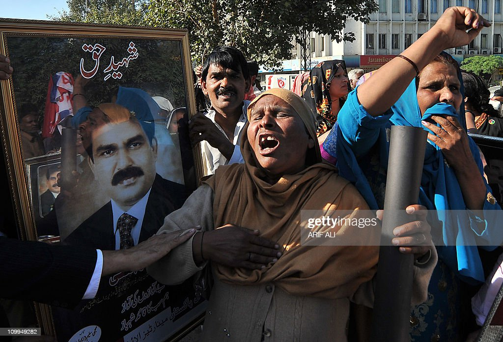 Pakistani Christians shout slogans as they protest against the killing of slain Pakistani minister for minorities Shahbaz Bhatti, in Lahore on March 11, 2011. Minority affairs minister Shahbaz Bhatti, an outspoken campaigner against Pakistan's Islamic blasphemy laws, died in a hail of bullets as he left his mother's home in the capital Islamabad on March 2.