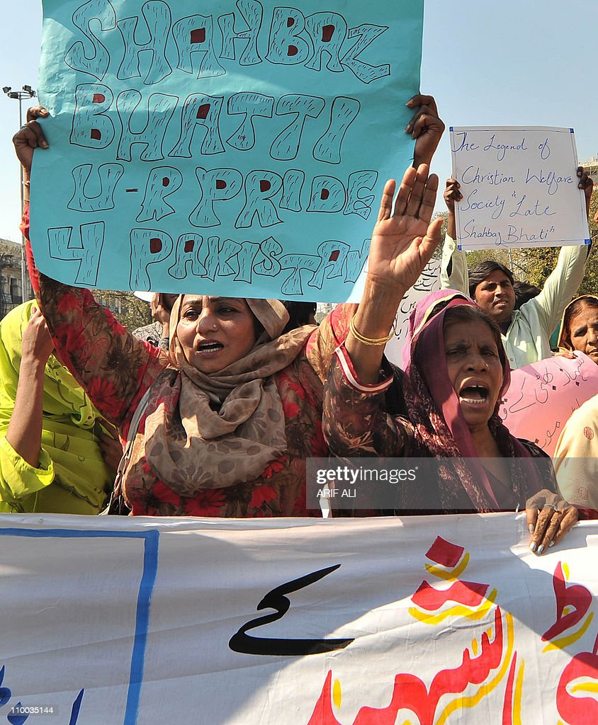Pakistani Christians shout slogans during a protest in Lahore on March on 13, 2011, against the killing of Minority Affairs Minister Shahbaz Bhatti. Bhatti, a member of Pakistan's tiny Christian community, had been a vocal opponent of the controversial blasphemy law along with the liberal late governor of Punjab province, Salman Taseer, died in a hail of bullets as he left his mother's home in the capital Islamabad. AFP PHOTO/Arif ALI