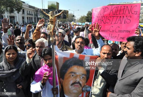Pakistani Christians shout slogans during a protest in Lahore on March on 13 against the killing of Minority Affairs Minister Shahbaz Bhatti Bhatti a...