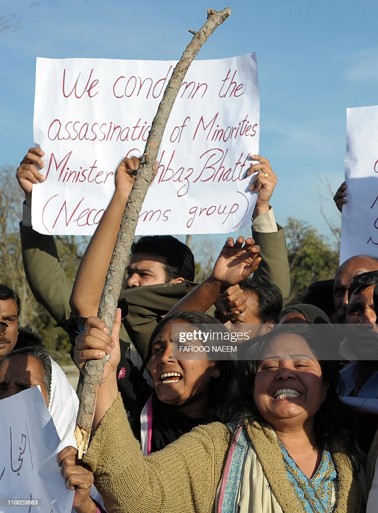 Pakistani Christians shout slogans during a rally in Islamabad on March 12, 2011, against the killing of Pakistan's Minority affairs minister Shahbaz Bhatti. Bhatti, 42, an outspoken campaigner against Pakistan's Islamic blasphemy laws that carry the death penalty, was killed by Taliban militants as he left his family home in Islamabad on March 2. People at the rally also held a prayer for the victims of Japan's devastating 8.9-magnitude earthquake and tsunami. AFP PHOTO/Farooq NAEEM