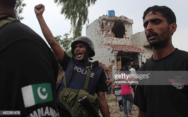 Pakistani commando forces shout slogans after complete the operation against Militants outskirts of Lahore July 17 2014 One terrorist has been killed...