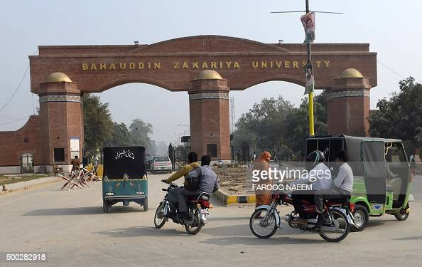 Pakistani commuters enter the Bahauddin Zakariya University in Multan on December 7 where female US shooter Tashfeen Malik studied The woman who with...