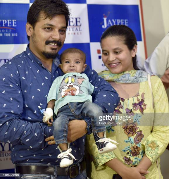 Pakistani couple Kanwal Siddiq and Anam thank doctors after successful surgery of thier son Rohaan at Jaypee Hospital on July 18 2017 in Noida India...
