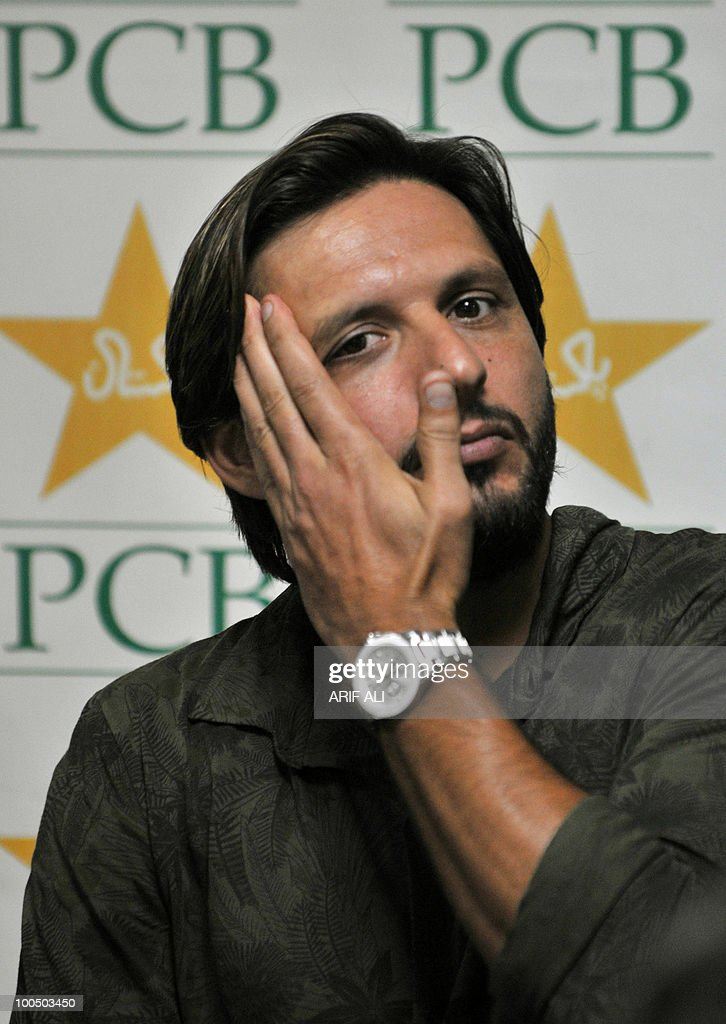 Pakistani cricket captain Shahid Afridi gestures as he answers a question during a press conference in Lahore on May 25, 2010. Dashing all-rounder Shahid Afridi was named Pakistan skipper for next month's Asia Cup and the following tour of England, uniting the team under one captain for all three formats of the game. AFP PHOTO/Arif ALI