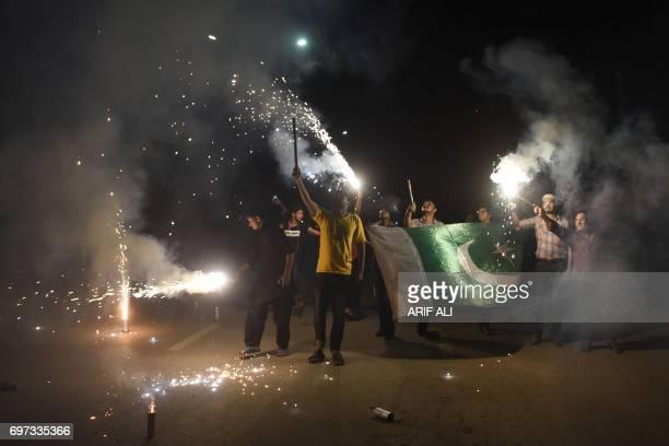 Pakistani cricket fans celebrates winning of the International Cricket Championship Champions Trophy final cricket match against India on June 18...
