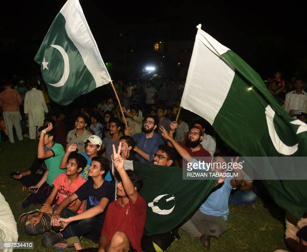 Pakistani cricket fans watch the International Cricket Championship Champions Trophy final cricket match between Pakistan and India on June 18 2017...