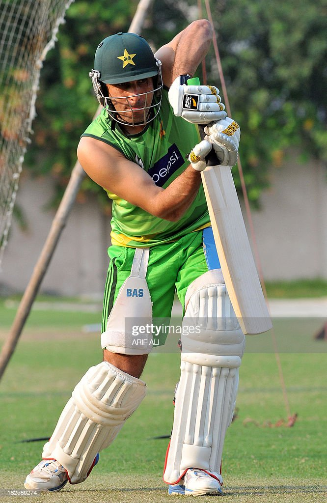Pakistani cricket Test captain Misbah-ul Haq plays a shot during a training camp in Lahore on October 1, 2013. Pakistan and South Africa will play two Test, five one-day, and two Twenty20 series starting in United Arab Emirates (UAE) from October 14.
