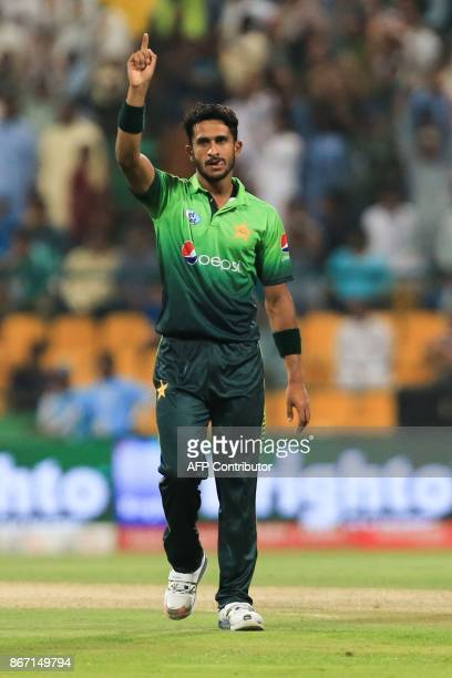 Pakistani cricketer Hasan Ali celebrates after taking a wicket during the second T20 cricket match between Sri Lanka and Pakistan at the Sheikh Zayed...