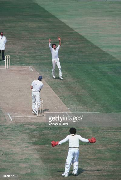 Pakistani cricketer Imran Khan bowls Derek Randall during the First Test Match against England at Birmingham July 1982
