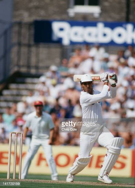 Pakistani cricketer Waqar Younis batting for Surrey CCC in the semifinal of the NatWest Trophy against Northamptonshire at The Oval London 14th...