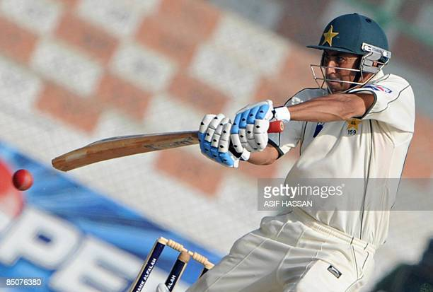 Pakistani cricketer Younus Khan plays a shot during the fifth and final day of the first Test match between Pakistan and Sri Lanka at The National...