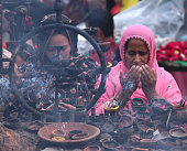 Pakistani devotees performing religious rituals and praying on the 3rd day of the 427th Annual Urs at the shrine of Muslim Sufi of Saint Shah Hussain...